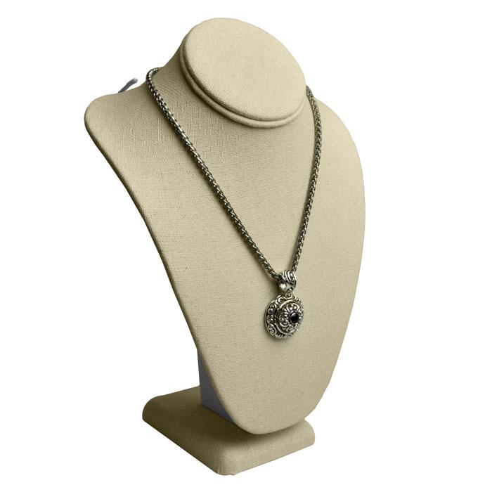 linen jewelry display