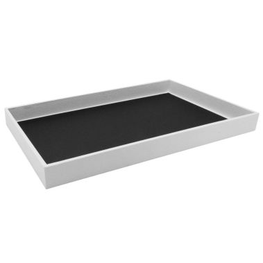 "White Leatherette Wrapped Jewelry Tray-1""-Full Size"