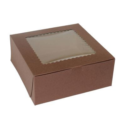 "Windowed Chocolate Cupcake Box 10"" x 10"" x 4"""