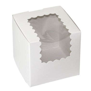 Windowed Semi-Gloss White Cupcake Box 4 x 4 x 4