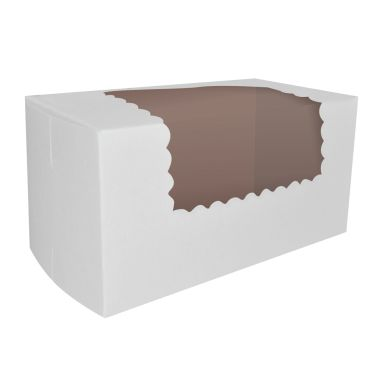 Windowed Semi-Gloss White Cupcake Box 8 x 4 x 4