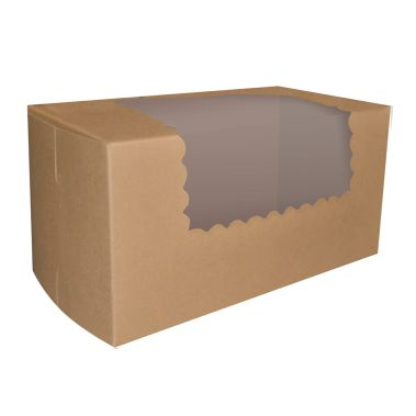 Windowed Kraft Cupcake Box 8 x 4 x 4