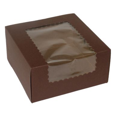Windowed Chocolate Cupcake Box 8 x 8 x 4