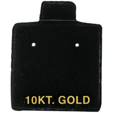 """10 KT. GOLD"" Black Earring Puff Cards 1"" sq'  Black"