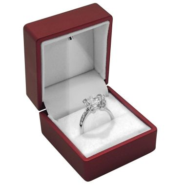 Red Soft Touch Lighted Ring Box