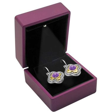 Purple Soft Touch Lighted Earring Box