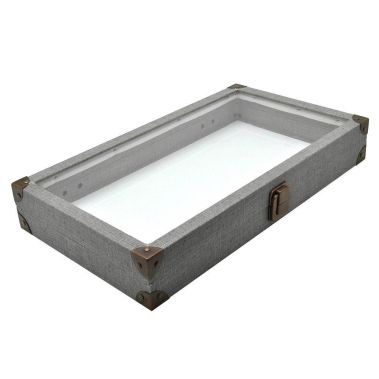 Grey Linen Jewelry Tray with Glass Lid