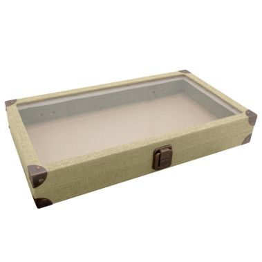 Linen Jewelry Tray with Glass Lid