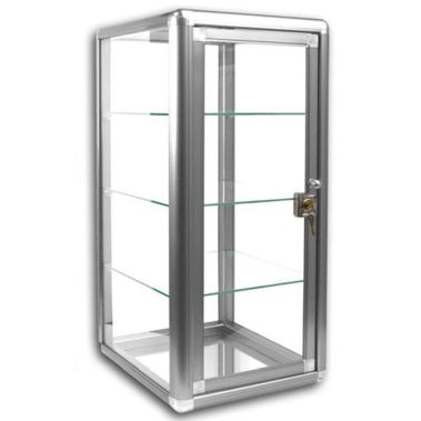 Glass Display Case Vertical Silver