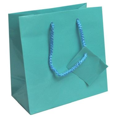 Glossy Euro Tote Bag (Sm.) Teal Blue