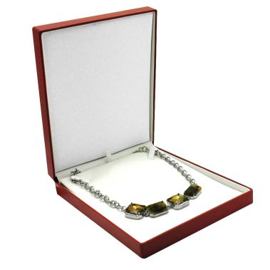 Premium Ribbon Necklace Box (Red)