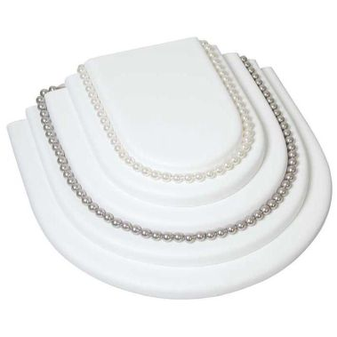 Tiered Necklace Display White Leatherette