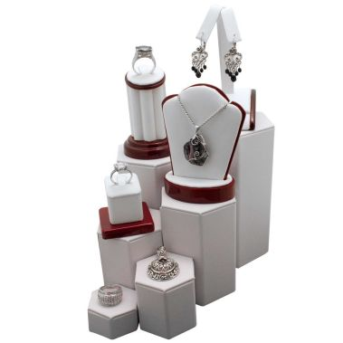 Leatherette Riser Set White