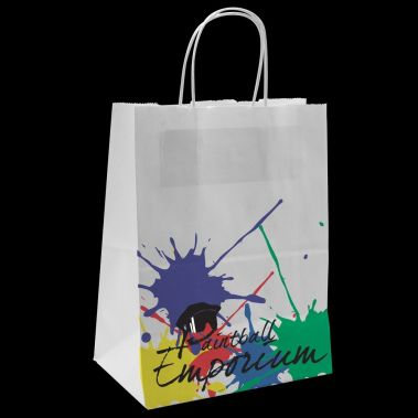 "8"" x 4-3/4"" x 10-1/4"" White Shopping Bag"