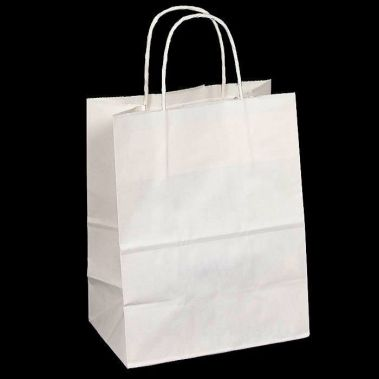 "8-1/4"" x 4-3/4"" x 10-1/2"" White Shopping Bag"