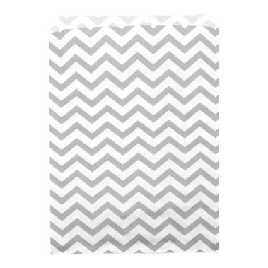 "Silver Chevron Gift Bag 6"" x 9"""