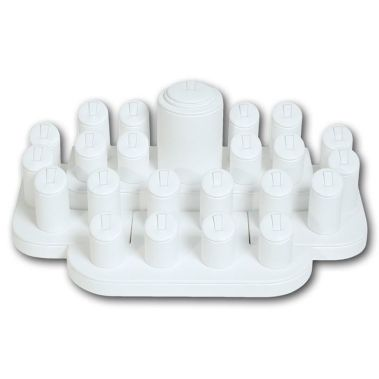 White Leatherette Ring Display Set